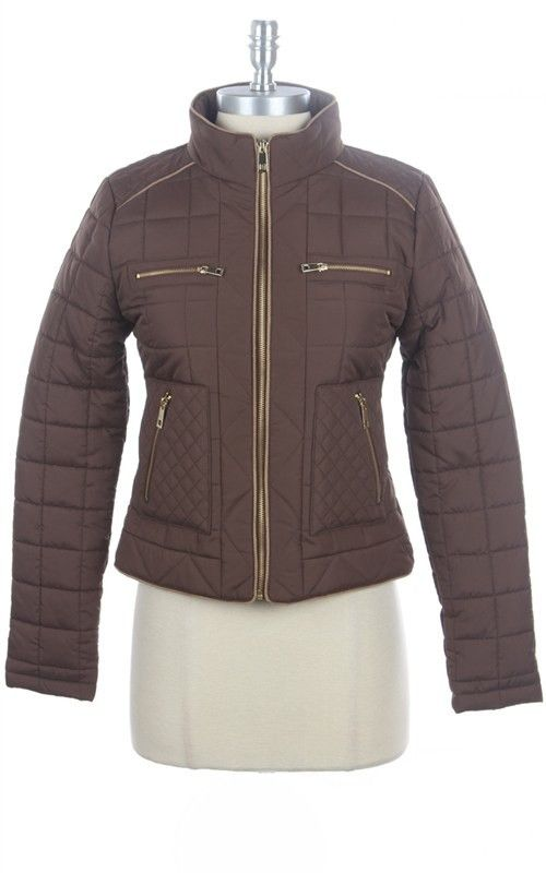 Prep Talk Quilted Puffer Jacket - Chocolate