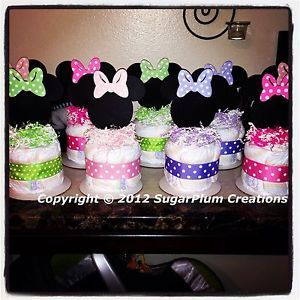 Perfect Minnie Mouse Diaper Cake Minis   Baby Shower Birthday Centerpieces  Decorations