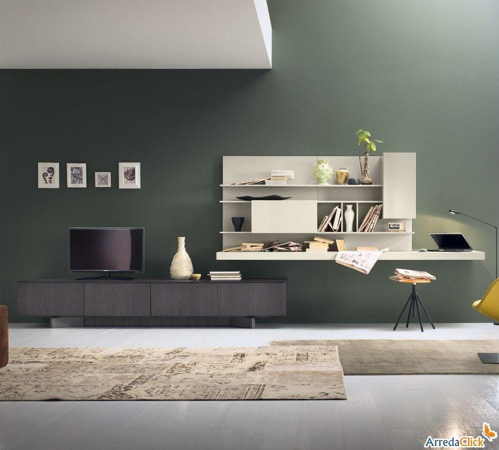 Perfect Plan FS56 Wohnwand Mit Beitem Regal Als Schreibtisch   ARREDACLICK