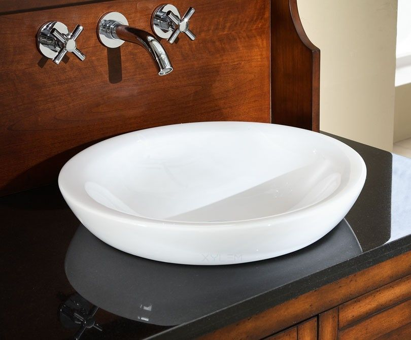 Round Semi Recessed Ceramic Bathroom Sink