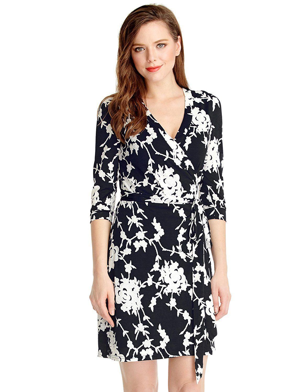 LookbookStore Women's Casual True Wrap Floral Knee Length