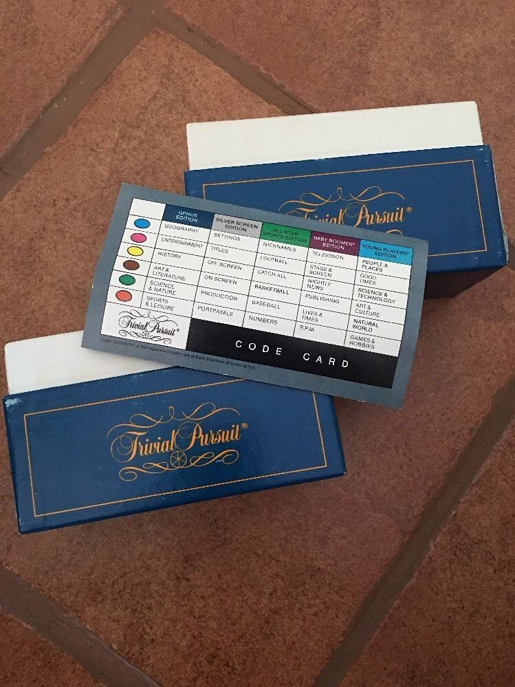 Trivial pursuit replacement cards 2 boxes and code card master game trivial pursuit fandeluxe Choice Image