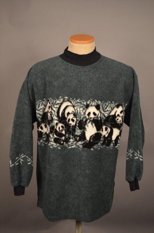 12.16$  Watch here - http://vijan.justgood.pw/vig/item.php?t=u3or37436 - Vintage Women's Panda Fleece Pullover Sweatshirts Coat Sweater XL MOCK TURTLE