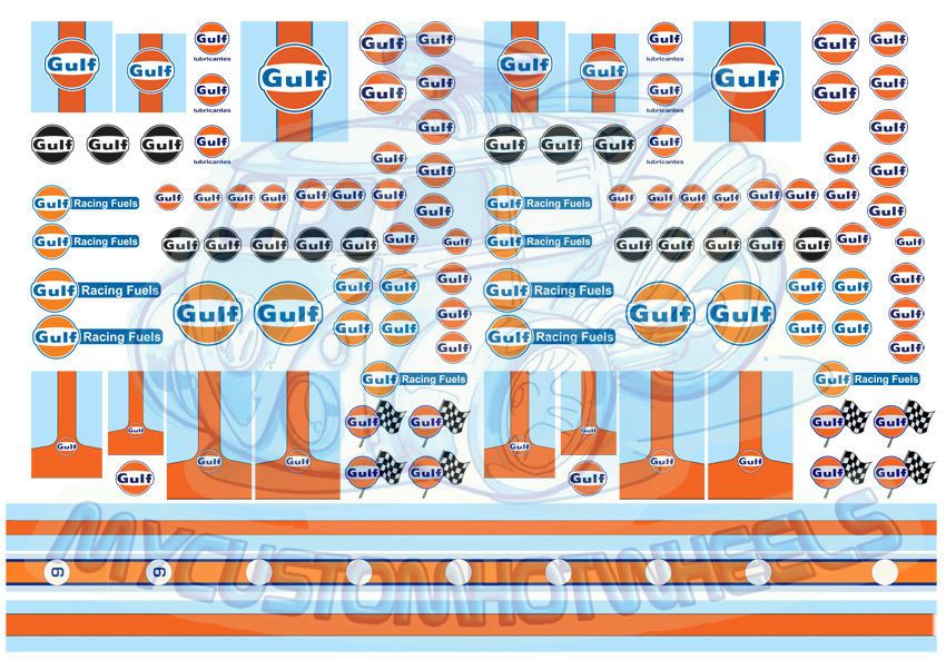 Gulf Racing Decals Waterslide Decals For All Model Scale Car From 1 64 To 1 24 Custom Hot Wheels Hot Wheels Gulf Racing
