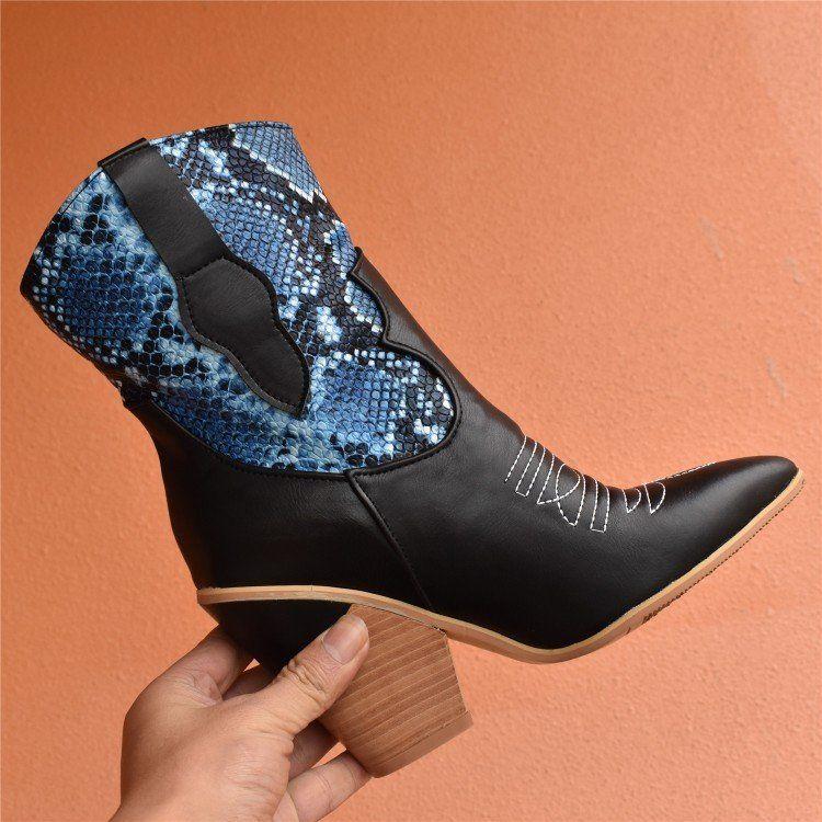 Stiefeletten Mit Schlangenleder Muster Ankle Boots Fashion Boots Fashion High Heels
