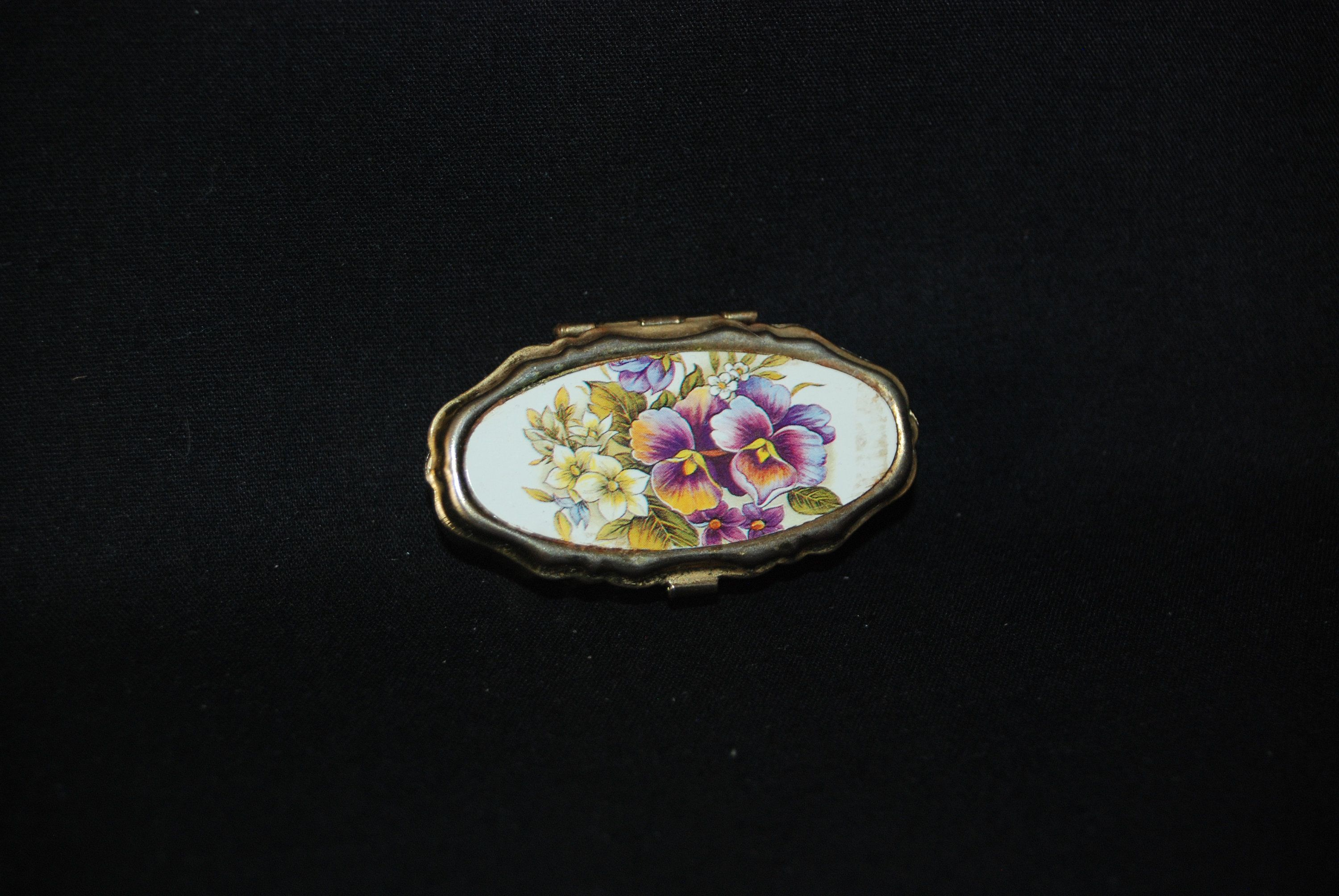 Flowers pill box vintage collectible flower engraved oval gold