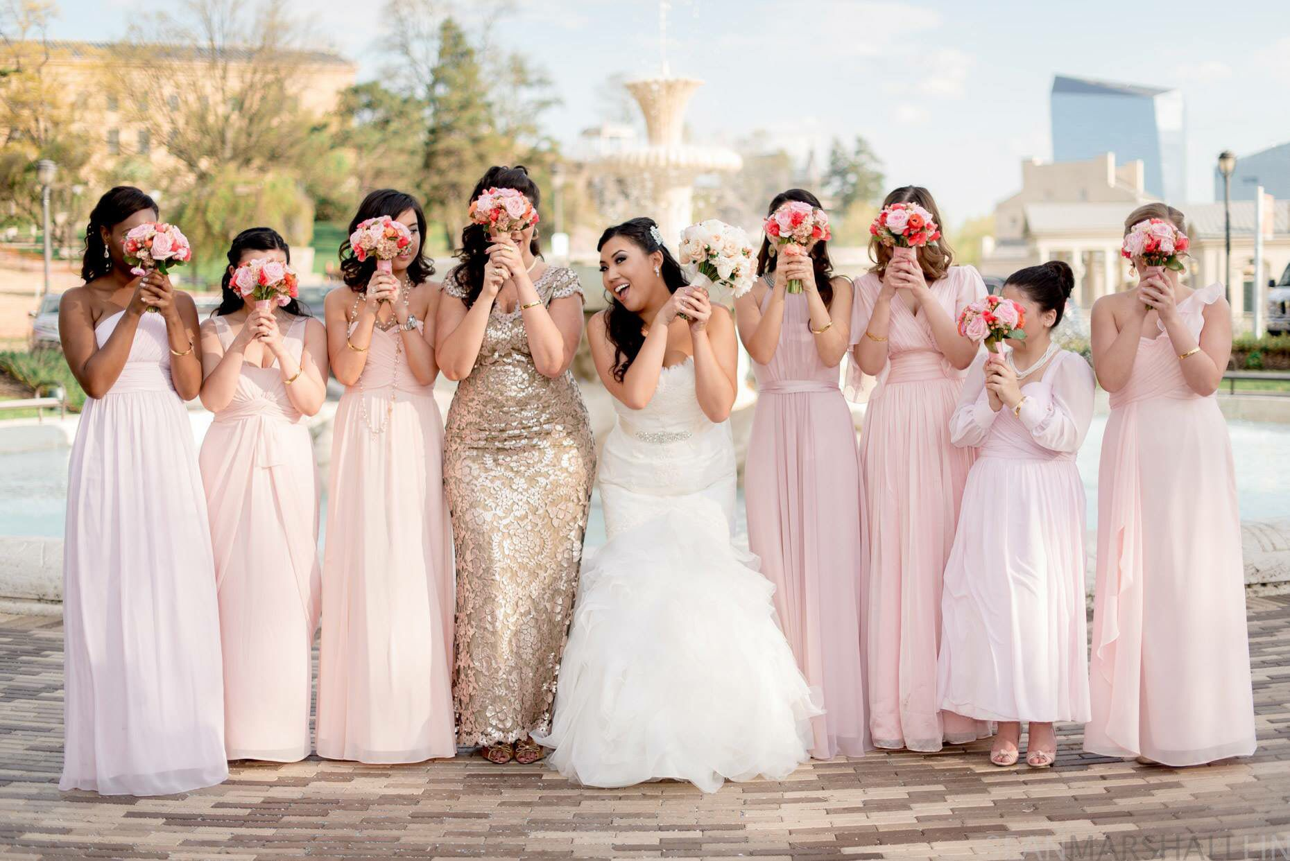Blush and gold wedding bridal party philadelphia wedding blush and gold wedding bridal party philadelphia wedding mismatched bridesmaids dresses ombrellifo Image collections