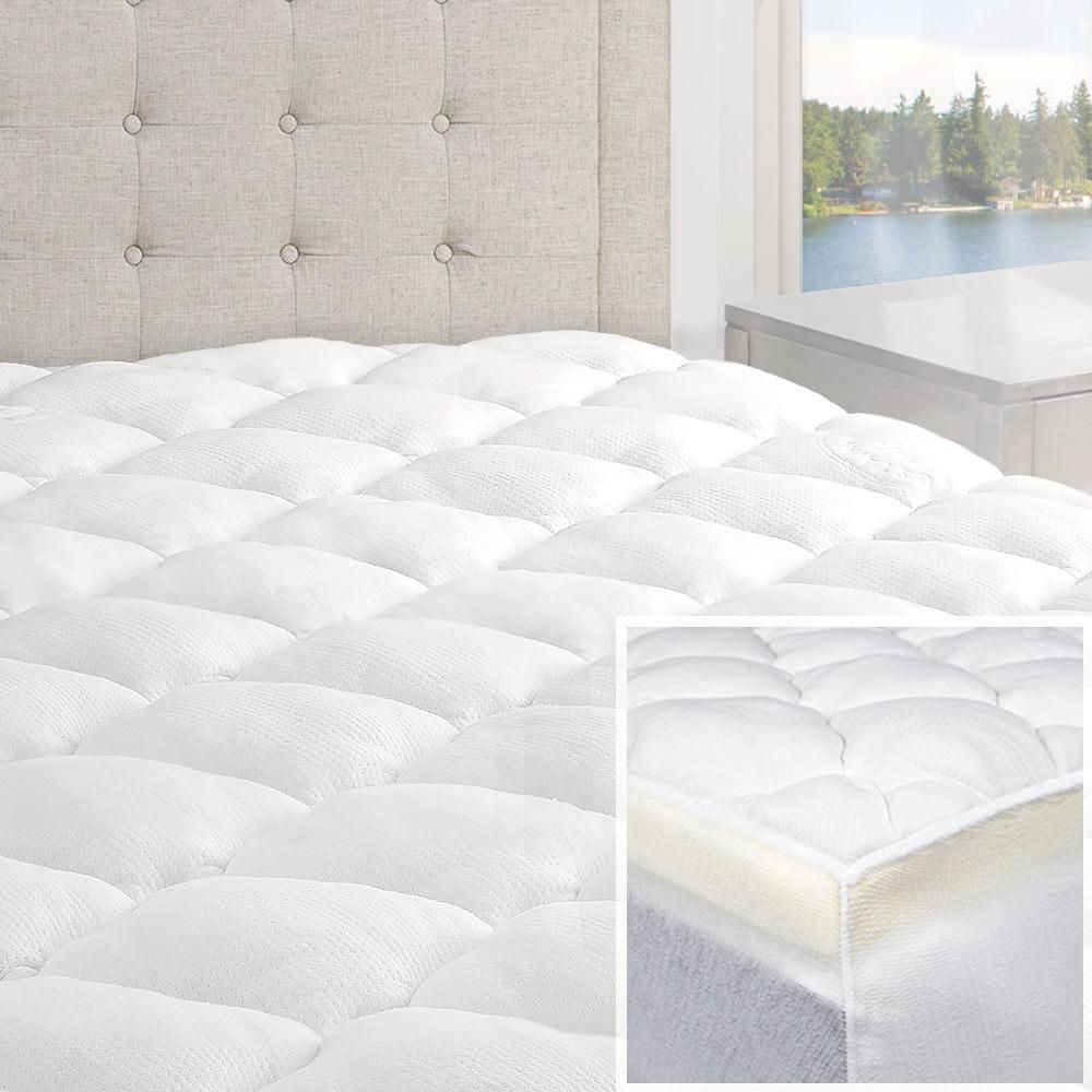 Double Thick 2 Piece Bamboo Mattress Pad Comfort Topper In 2020 Bamboo Mattress Bamboo Mattress Topper Mattress Pad