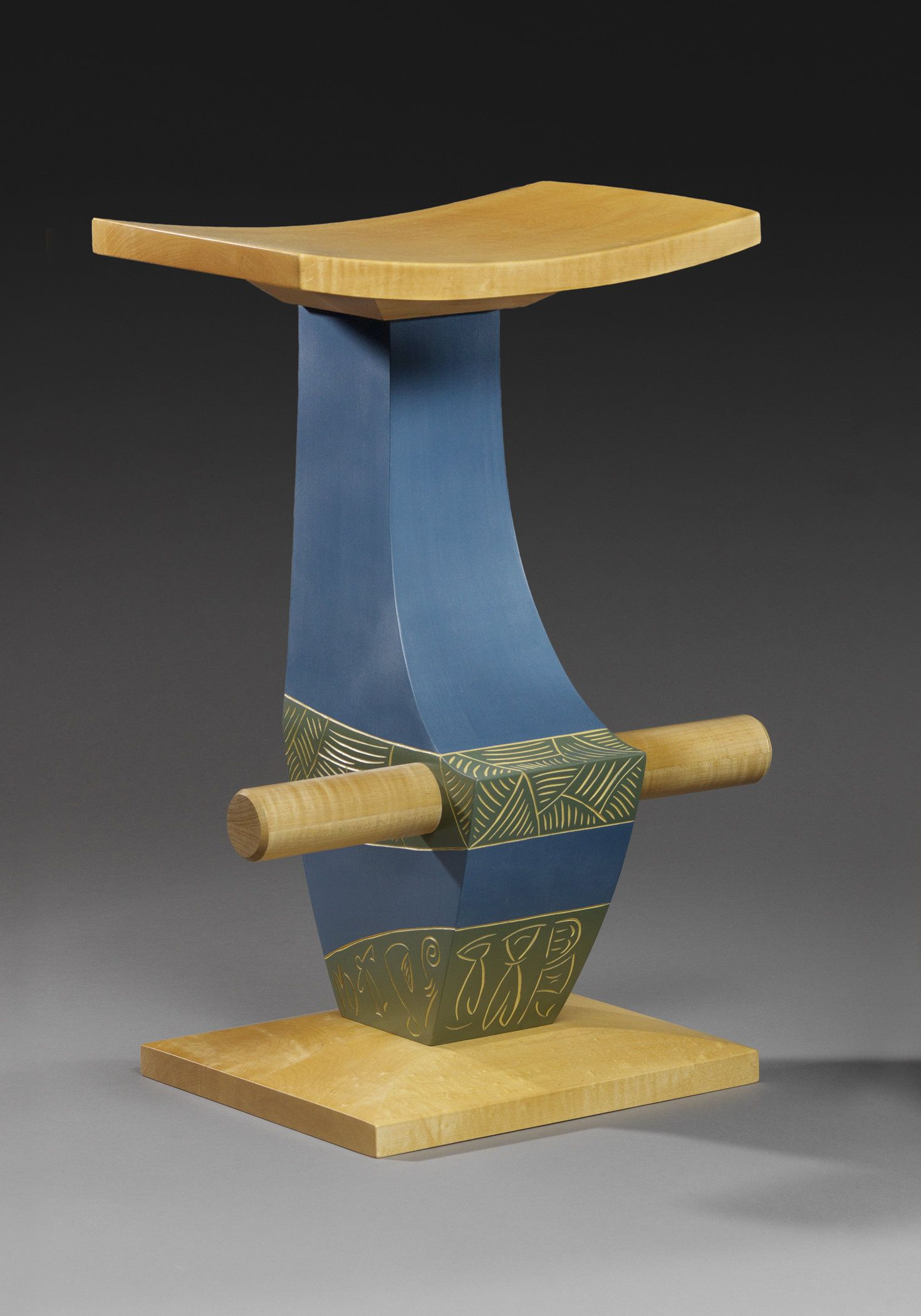 Stool #14 by Mark Del Guidice. Curly maple and carved and painted ...