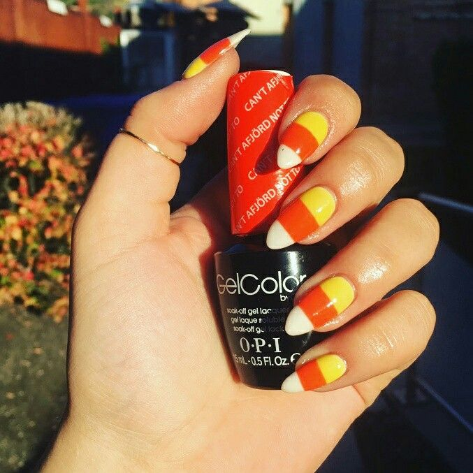 Hand painted candy corn #nailart on natural #nails (really!). Gotta ...