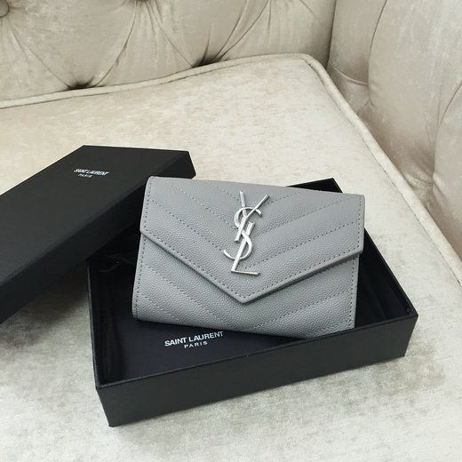c28bc8e3 2016 YSL Small Monogram Envelope Wallet in Light Grey Grain De ...