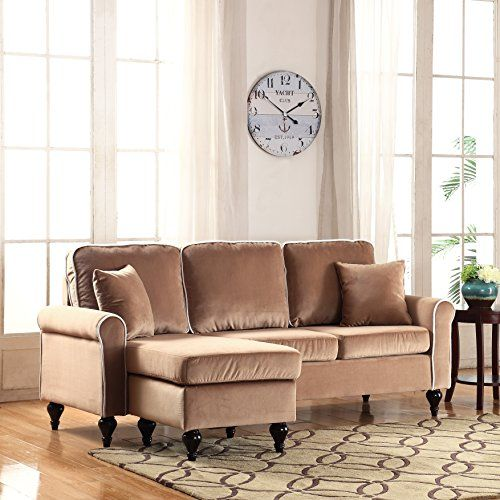 Classic And Traditional Small Space Velvet Sectional Sofa With Reversible Chaise Champagne Learn More B Sectional Sofa Sectional Sofa Couch Velvet Sectional