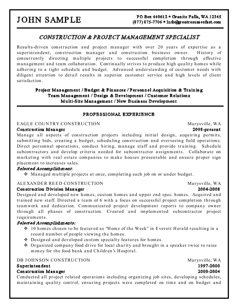 Executive Resume Examples Resume Formatting Ideas Mistakes Faq About Construction Examples