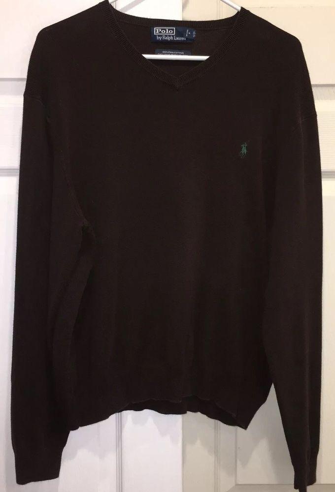 Polo BrownEbay Lauren Xl Ralph Cotton Mens Pima Neck V Sweater eCBxdo