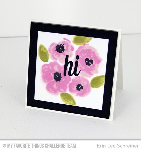 Watercolor Flowers, Happy Hellos Die-namics, Stitched Square Frames Die-namics - Erin Lee Schreiner  #mftstamps