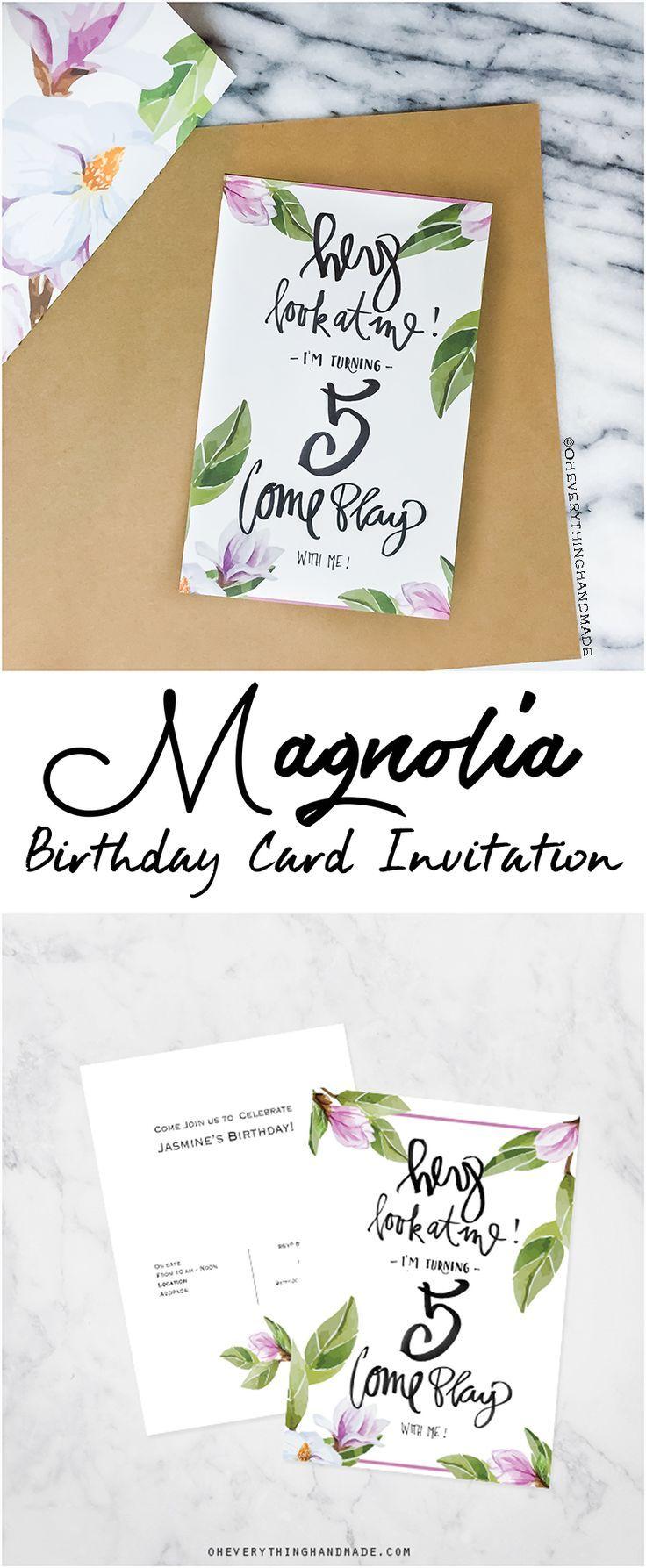 Magnolia Birthday Card Invitation | ***Bloggers \'Post it\' Board ...