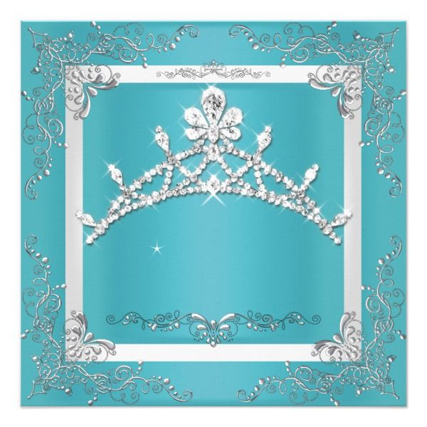 Turquoise Silver Tiara Quinceanera 15th Birthday