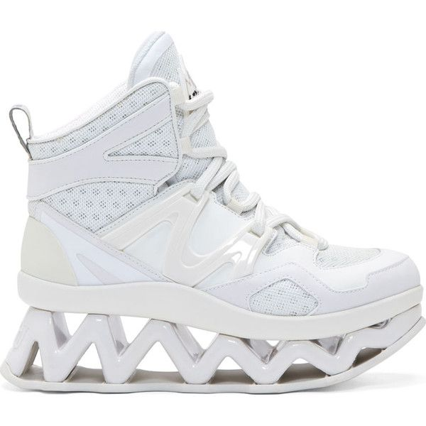 Marc by Marc Jacobs White Cut-Out Platform Ninja Sneakers (1.410 BRL) ❤ liked on Polyvore featuring shoes, sneakers, white leather high tops, high-top sneakers, white high top shoes, leather platform sneakers and leather sneakers