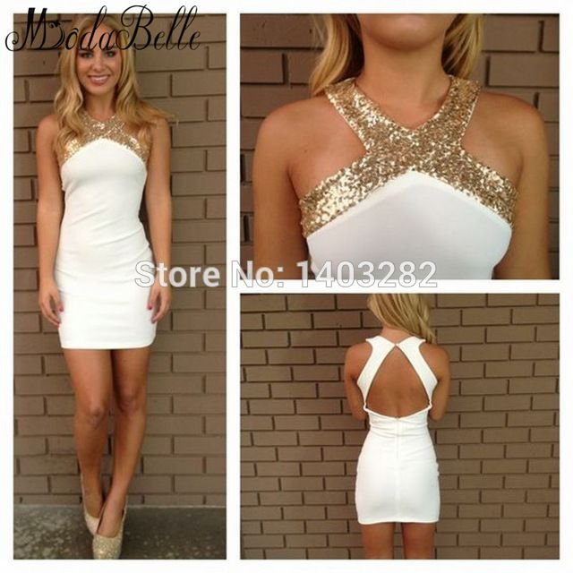 1979674078b White Gold Sequins Short Tight Cocktail Dresses Sexy Halter Dresses  Cocktail Party Formal Gowns Vestido Branco Robe De Cocktail