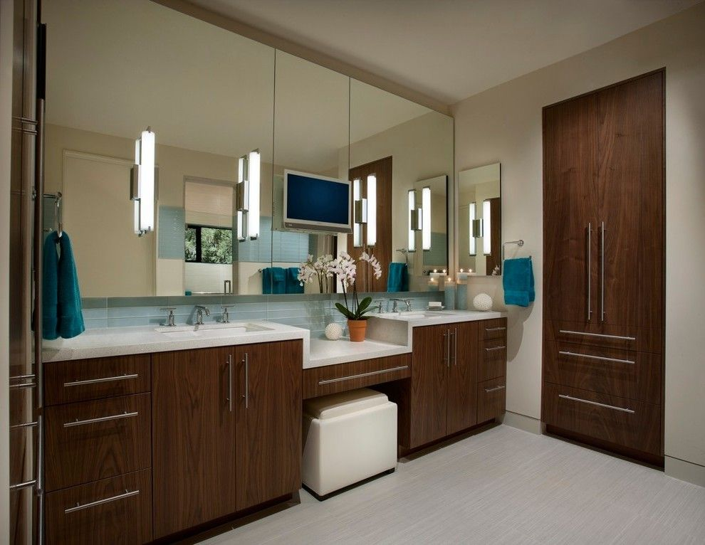 Vanity Light Bar with Double Sinks Neutral Towel Under Sink Wall ...