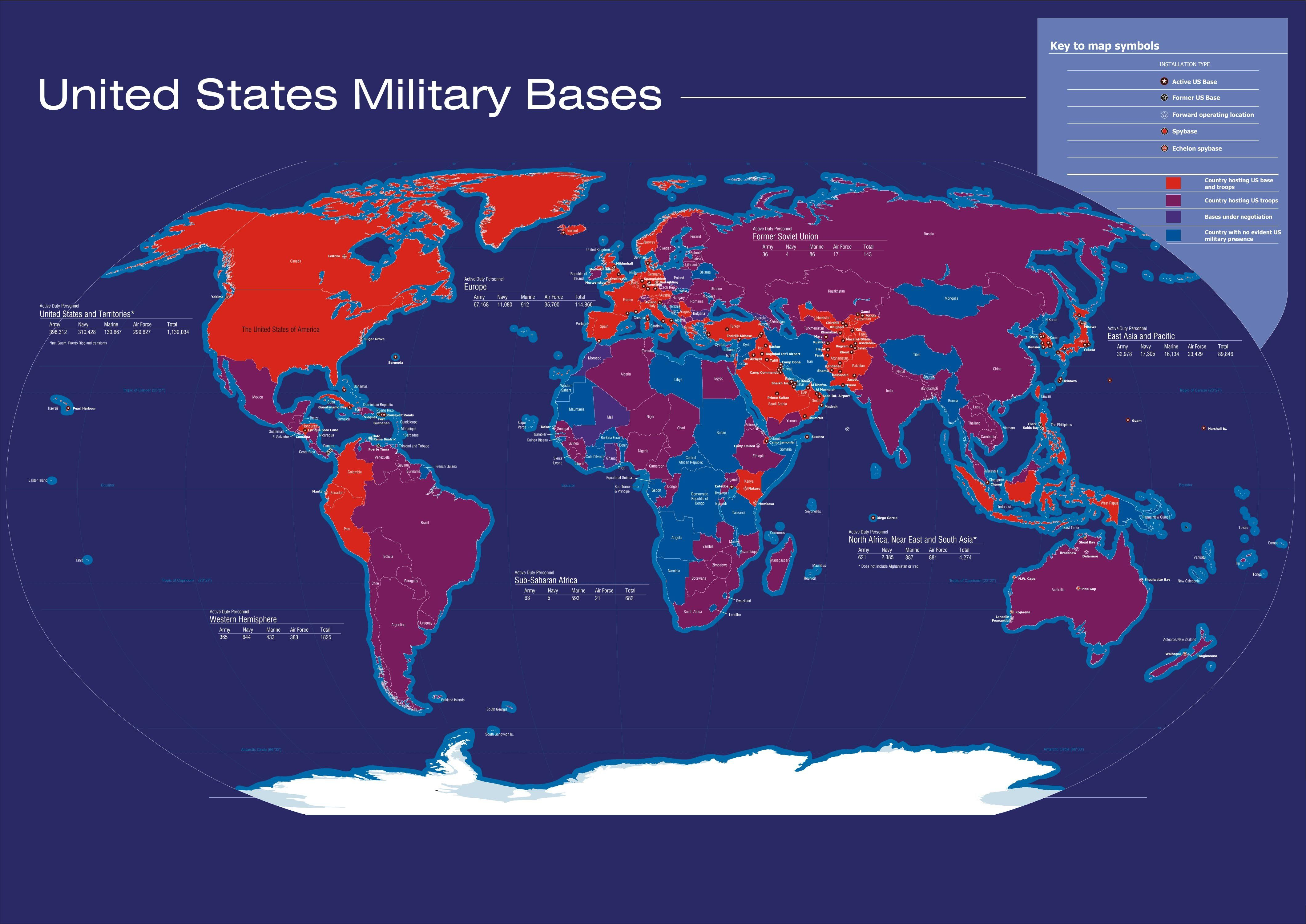 Army Bases In Usa Map on