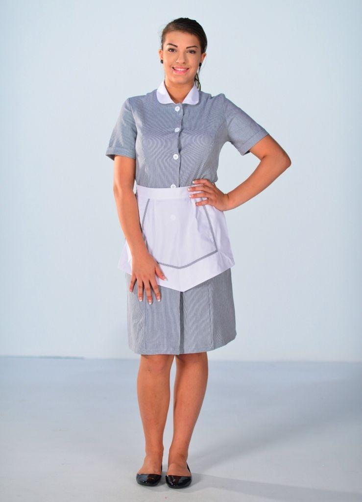 blouse femme de chambre manches courtes grise carlton. Black Bedroom Furniture Sets. Home Design Ideas
