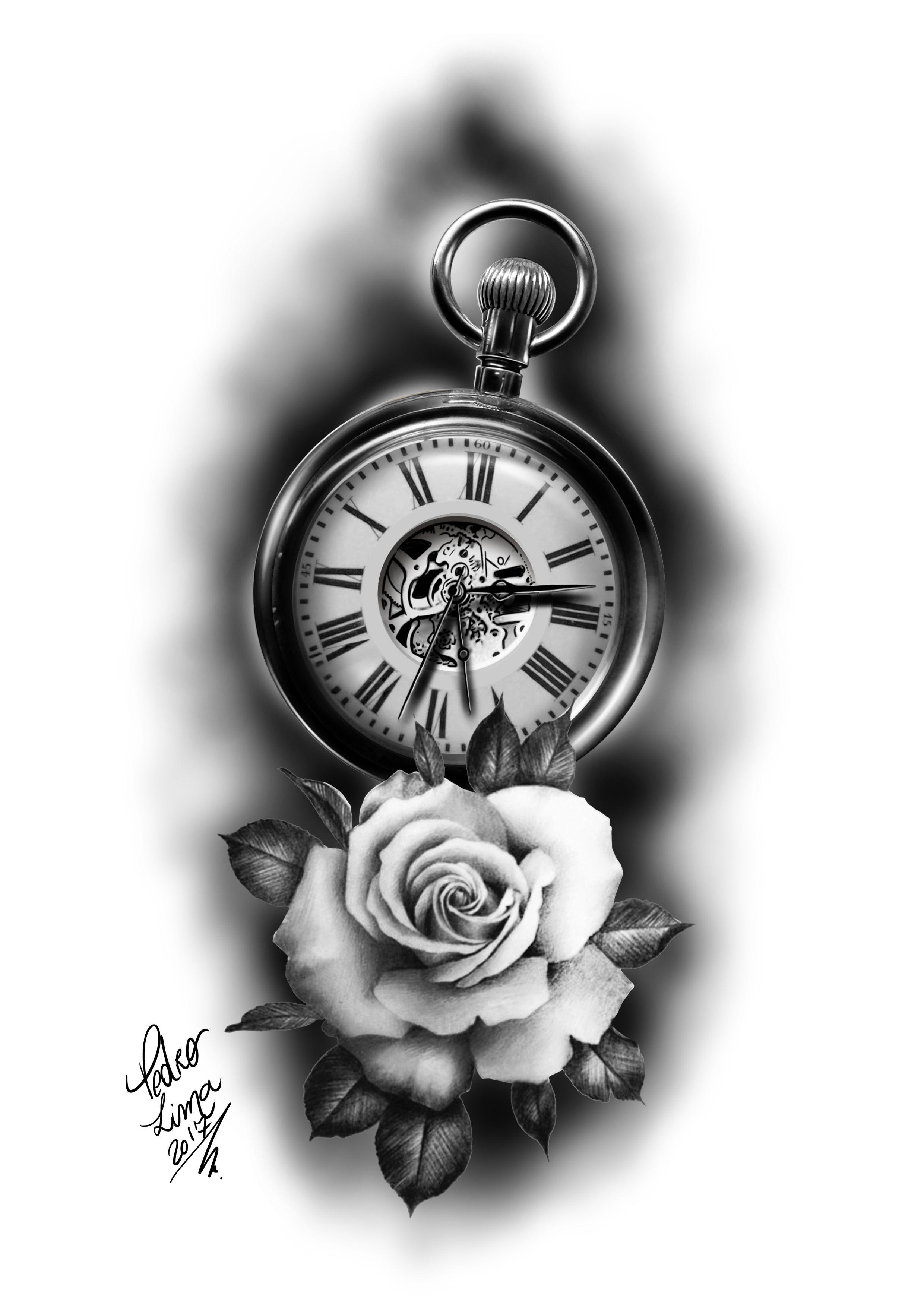 rosa e relogio   roses and clock Rózsás Tetoválások 5904d29247