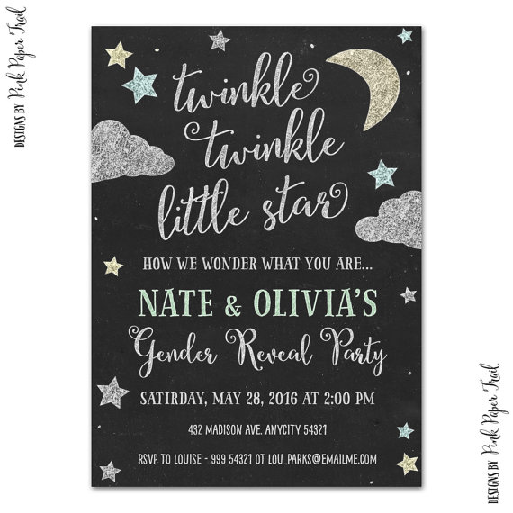 twinkle twinkle little star invitation, gender reveal, baby shower, Baby shower invitations