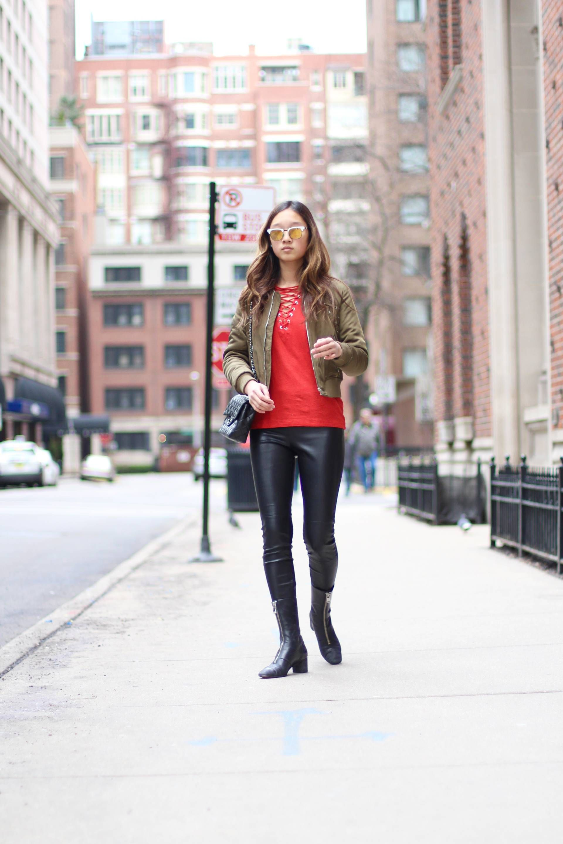 a371ca855df02 iro imis red jersey tee, LF green army bomber jacket, zara faux leather  pants, zara faux leather zipper booties, westward leaning vanguard  sunglasses, ...