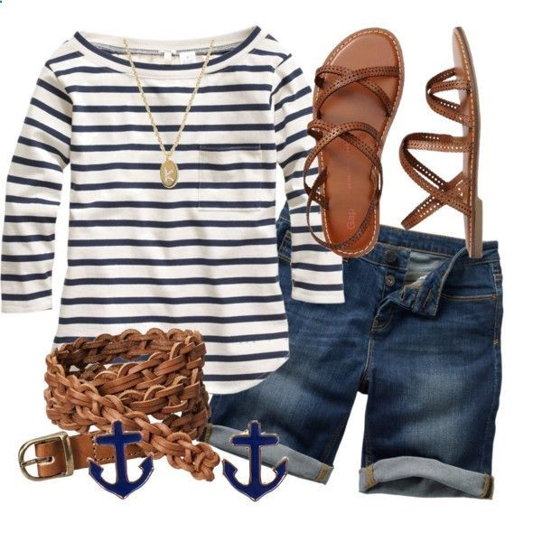 I dont like the boat neck or the stripes.  I like the shoes and length of the shorts.