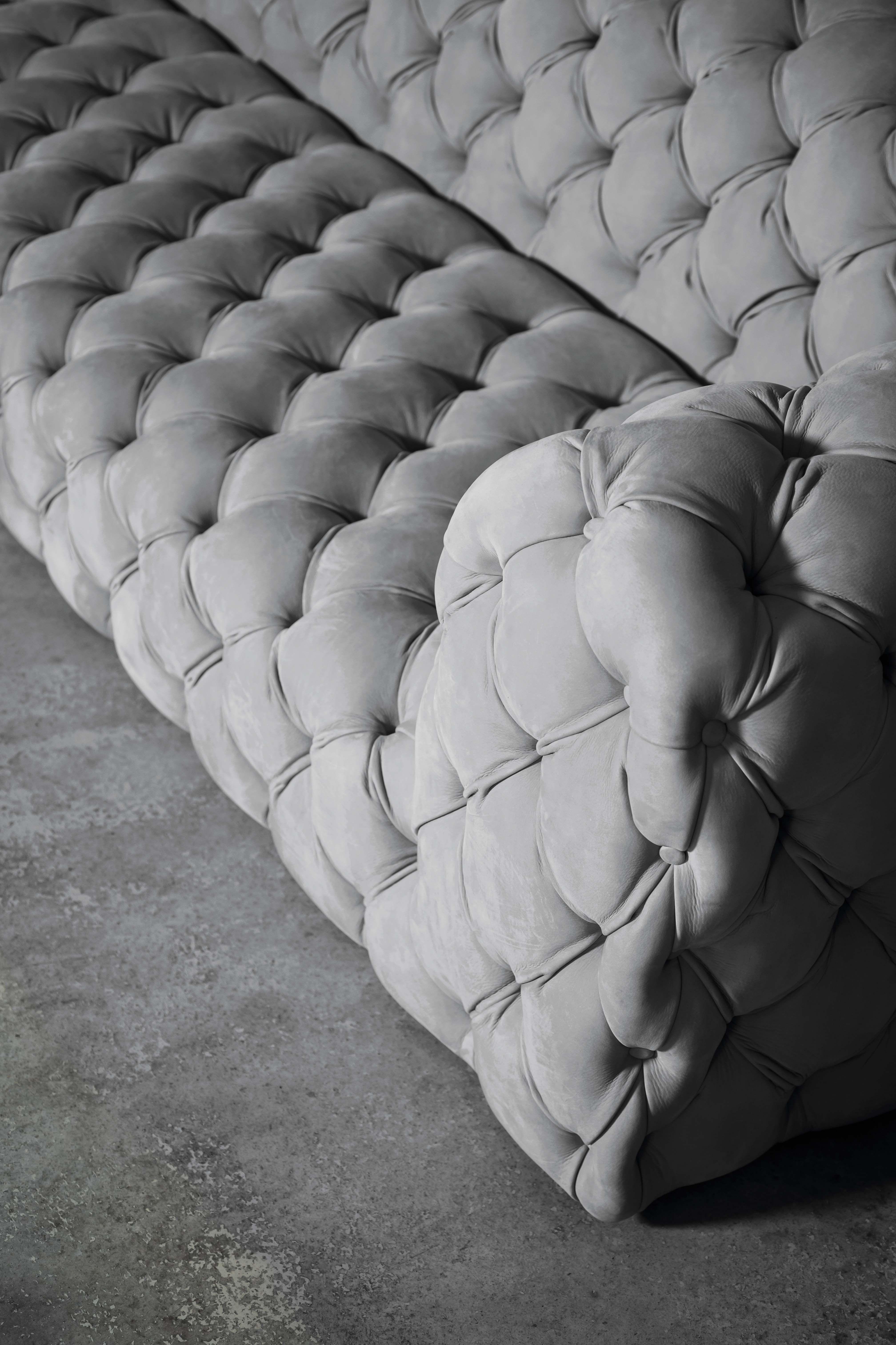 Sofa Chester Moon Design Paola Navone Nabuck Light Grey Leather