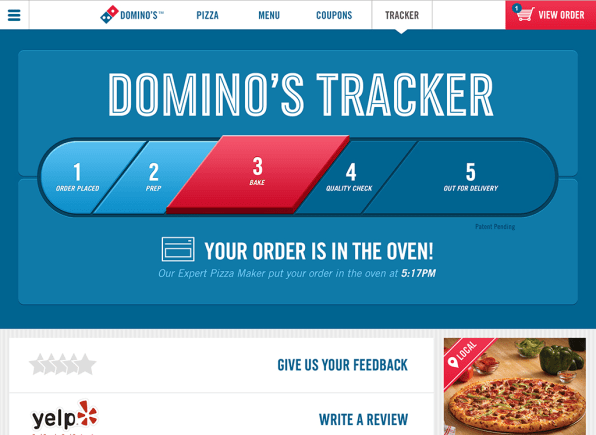 Order resume online dominos