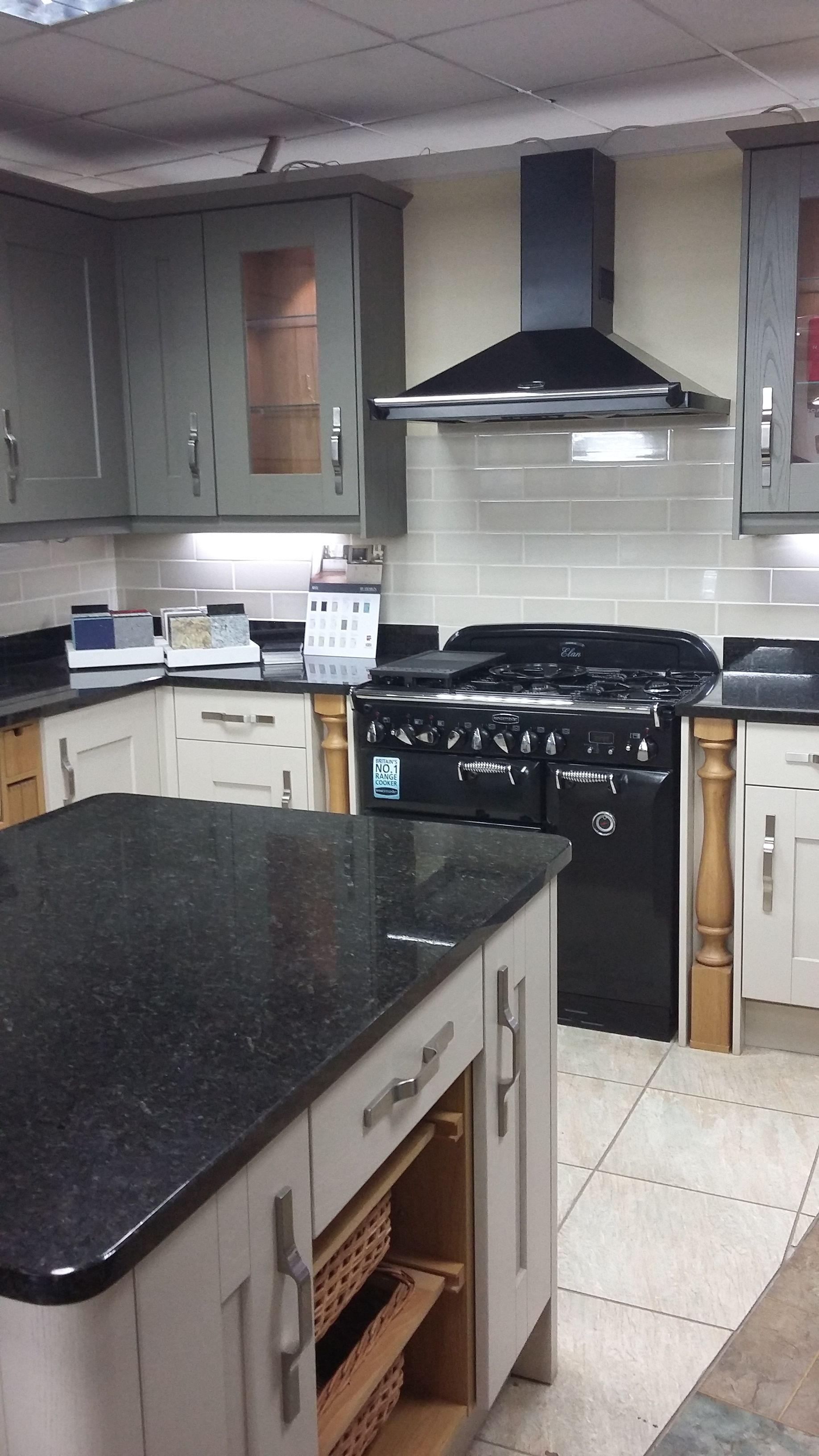 By Design Rye Painted Timber Shaker Kitchen With Rangemaster On Display In Our Stratford Upon Avon Showroom Shaker Kitchen Kitchen Kitchen Cabinets