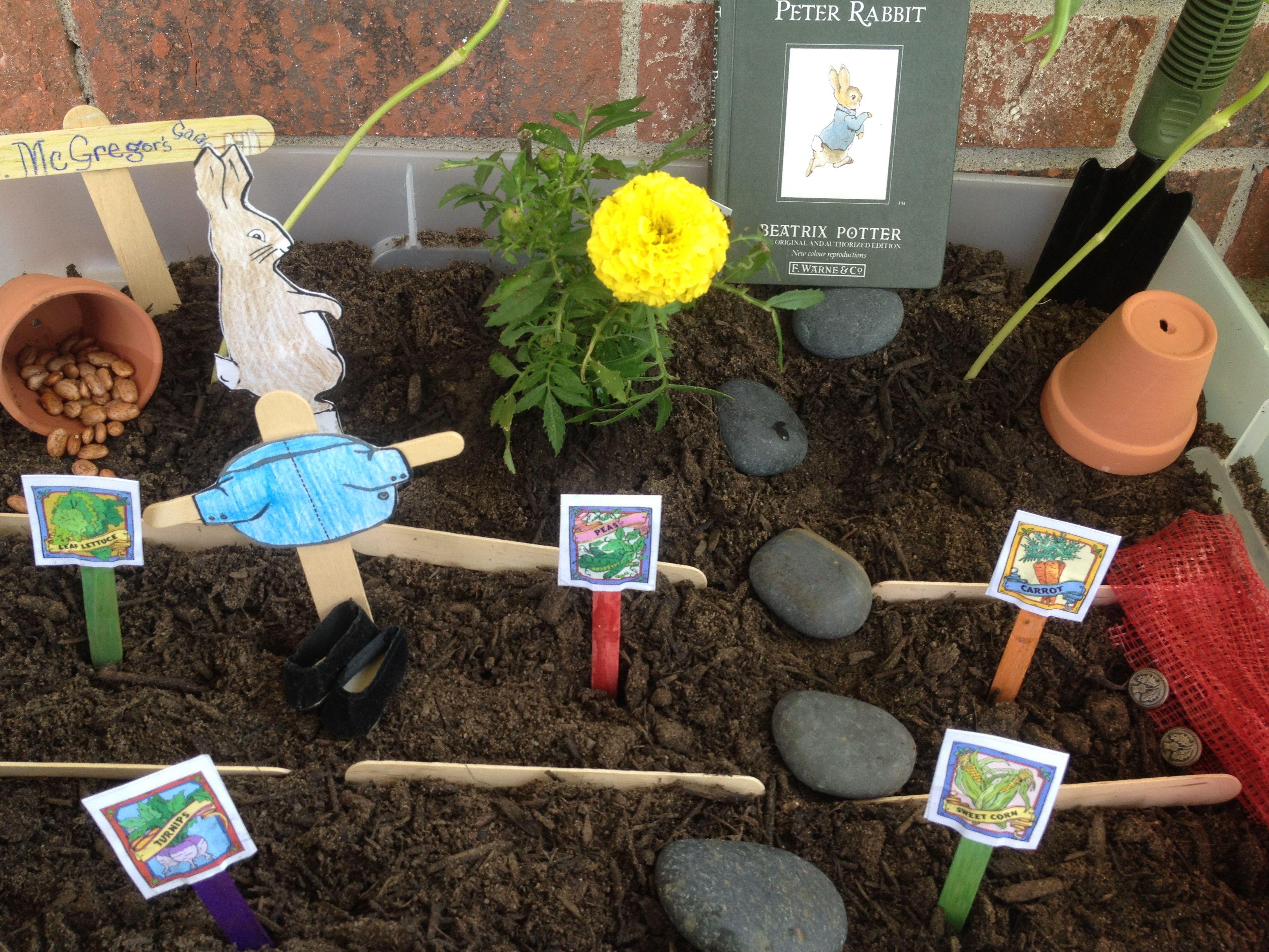 Mr mcgregor 39 s garden we made this peter rabbit sensory for Gardening tools preschool