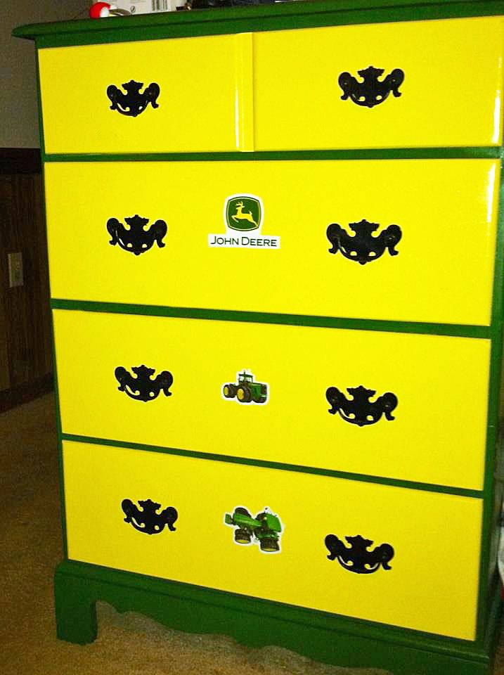 Free off of craigslist, some John Deere paint and stickers - perfect gift for my nephew #etcfurniture #edenton