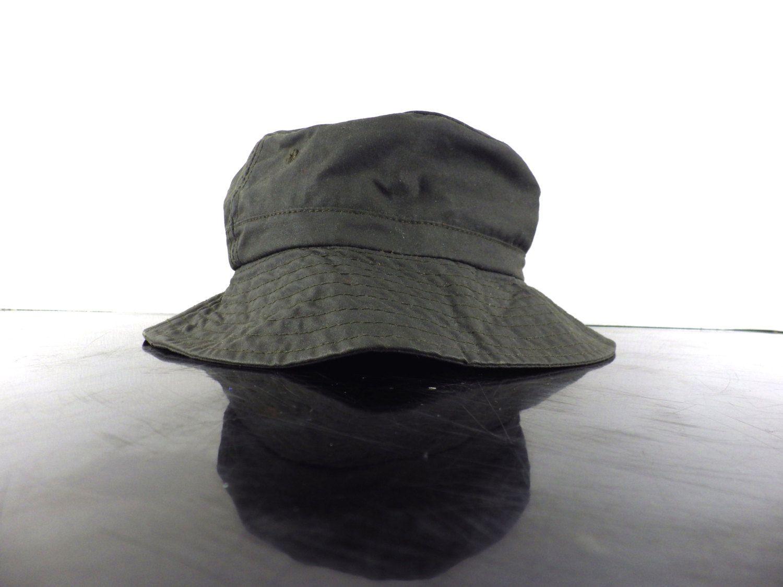 Vintage LL Bean Waxed Cotton Rain Bucket Hat - USA Made - Dark Olive Green  Khaki - Waterproof - Tartan 002f45161a1a