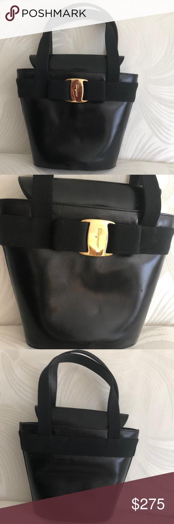 3511bb867b3 Salvatore Ferragamo Vara Bow Black Leather Handbag This Salvatore Ferragamo  Vara Bow Black Leather Hand Bag