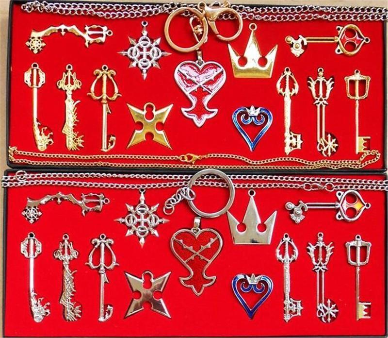 12pcs Kingdom Hearts II KEY BLADE Necklace Pendant+Keyblade+Keychain Set in box