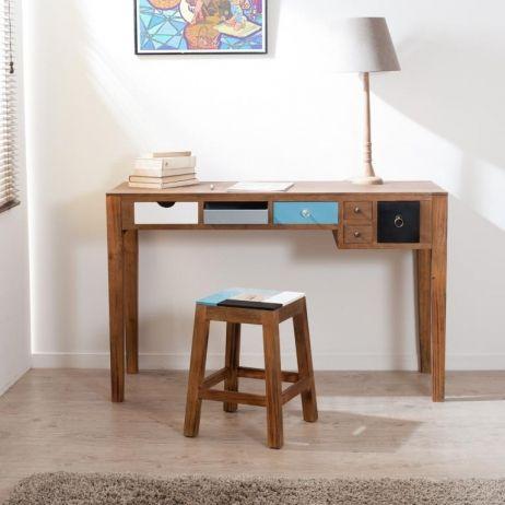 Bureau Moderne avec rangement Bleu Blanc Noir Bois 122cm MAXINE ...