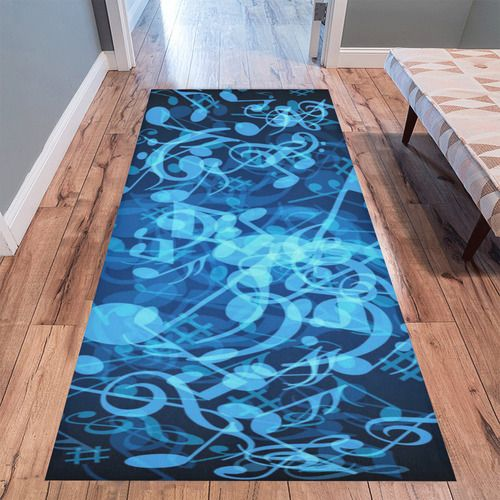 Blue Glow Music Notes Area Rug