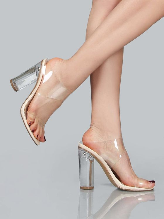 d8e9ef0541d40 Clear Double Strap Slip On Heel NUDE | MakeMeChic.COM | Shoes ...