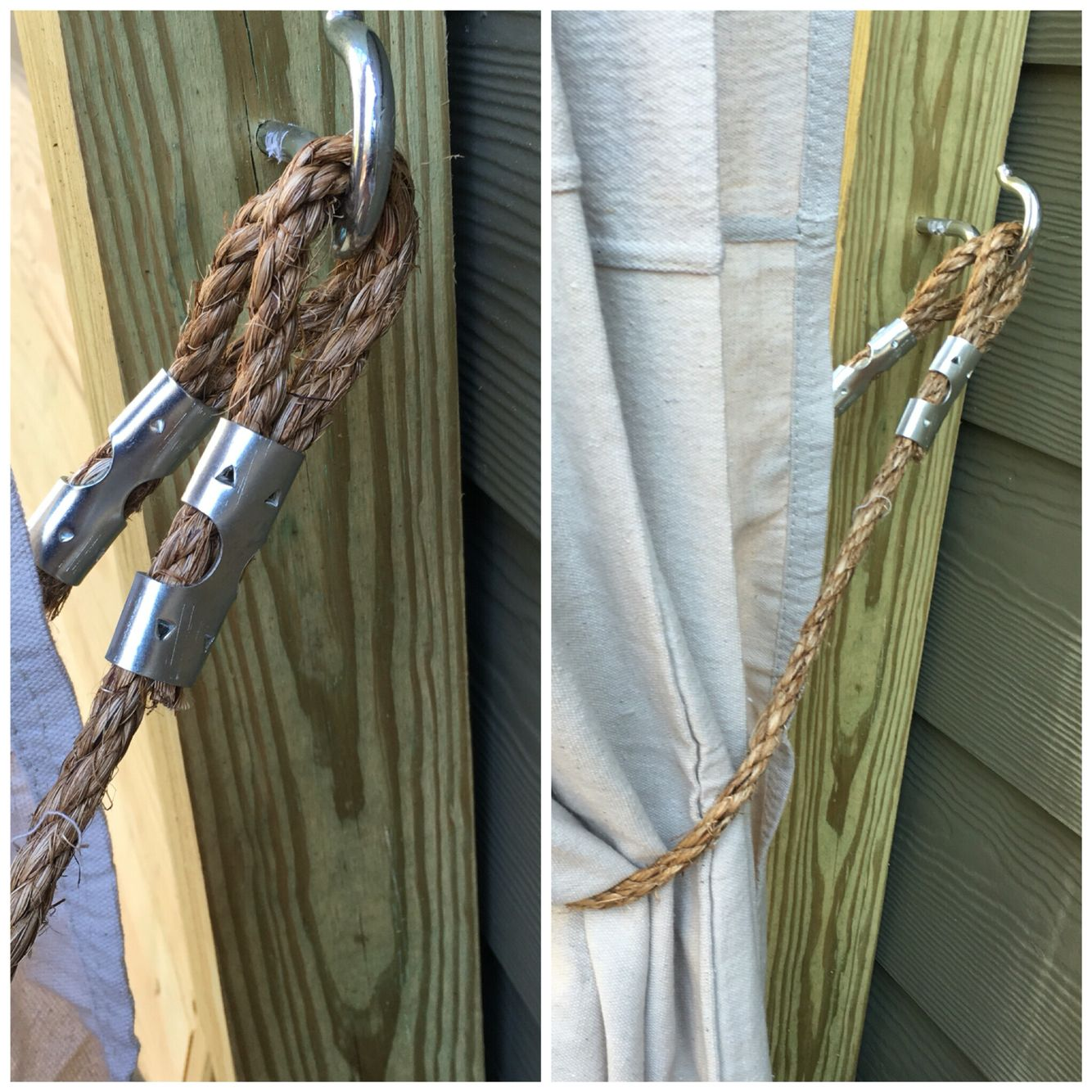 My Diy Outdoor Curtain Tie Backs For 6 12 A Piece 3 Ft Piece Of 3 8 Thick Manilla Rope And Two 1 2 Rope Clamps Per Rope Clamp Outdoor Curtains Curtain Ties