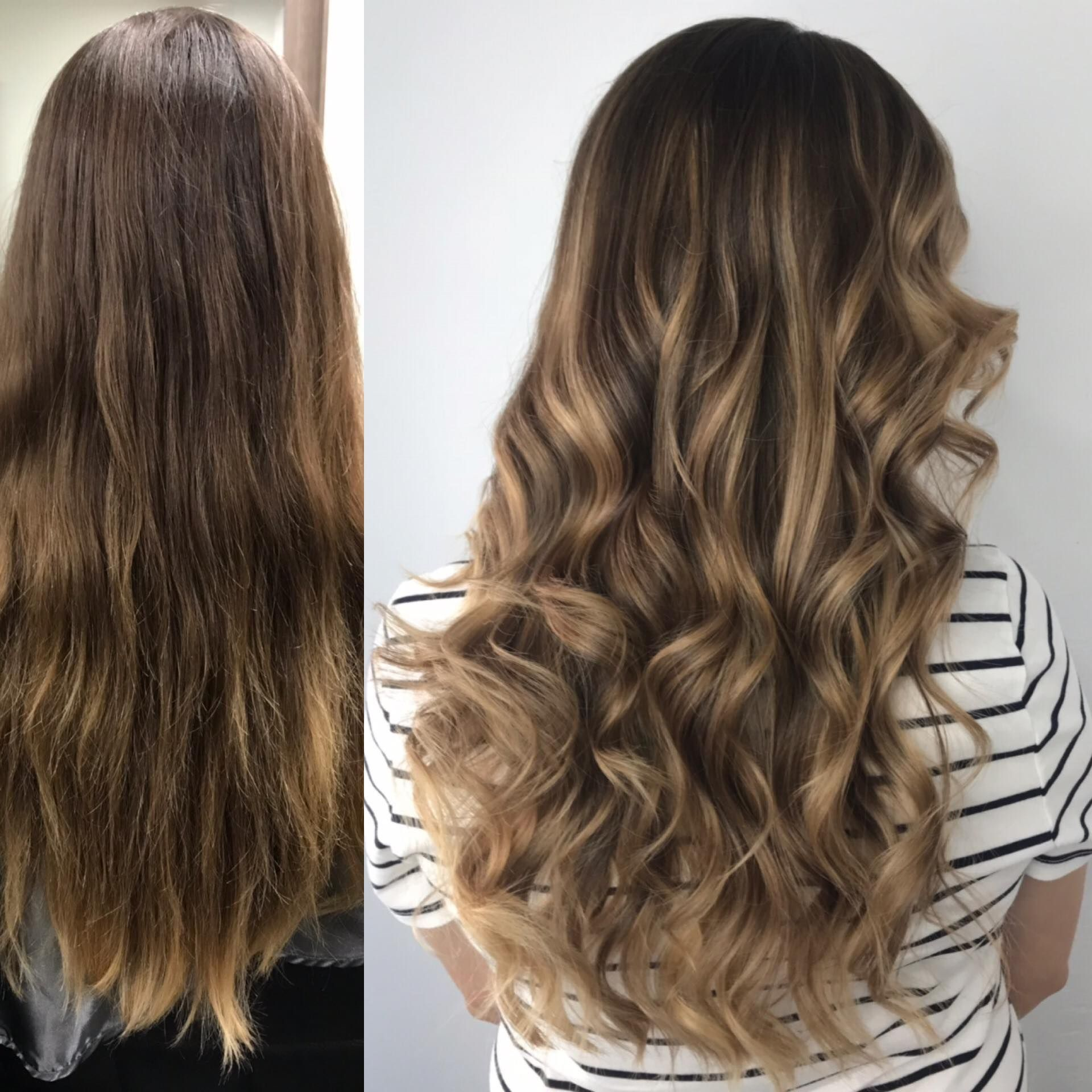 Before After Virgin Hair Transformation Light Brown Hair Blonde