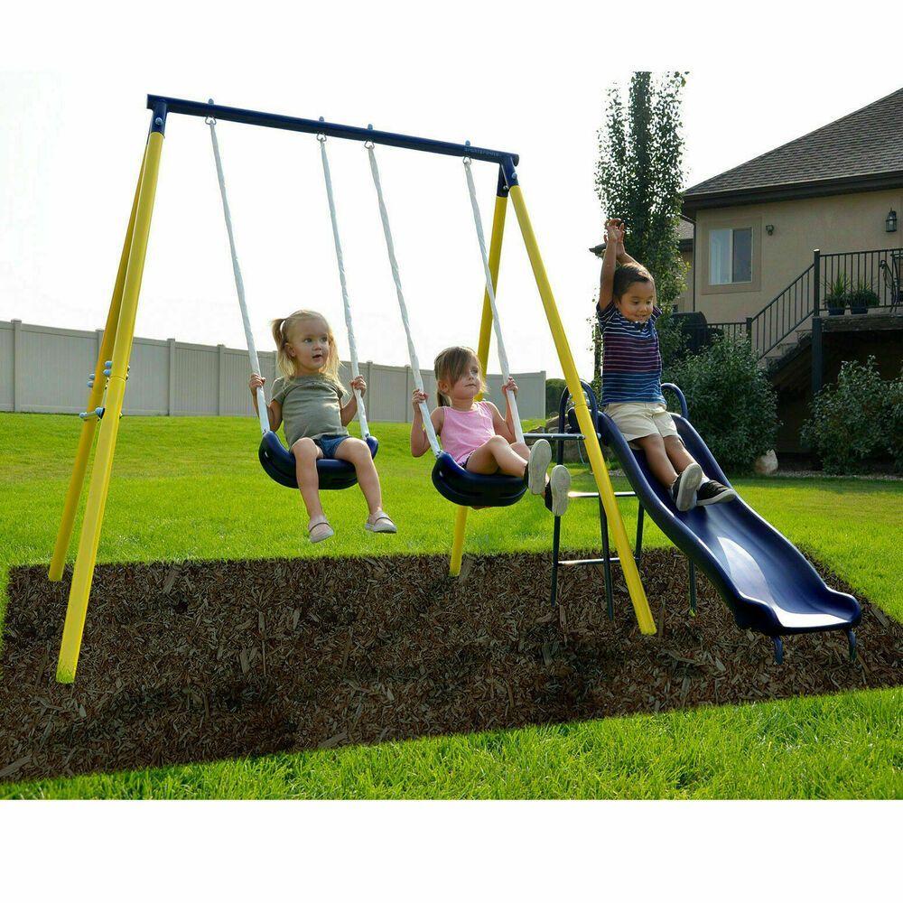 Metal Swing Set Kids Playground Swing Slide Outdoo In 2020 With Images Metal Swing Sets Backyard Playground Backyard Playset