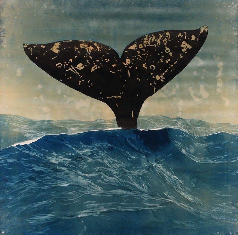 Whale in cyanotype