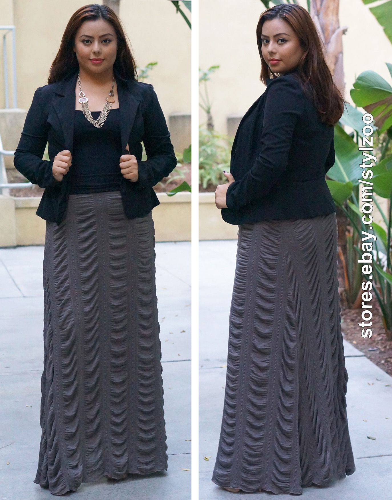 57691b38c3 This Plus Size Ruched Parachute Maxi Skirt is a fashionable and popular  skirt right now! The ruched detailing and wide black waistband are perfect  for ...