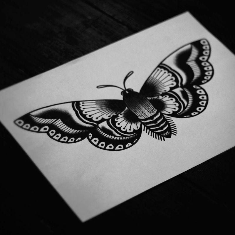 Traditional Butterfly Tattoo Flash: Traditional Moth Tattoo Idea.