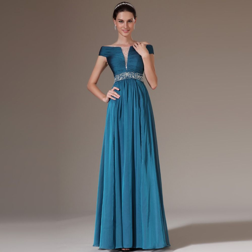 Off the Shoulder Teal Chiffon Beaded Long Prom Dresses Floor Length ...