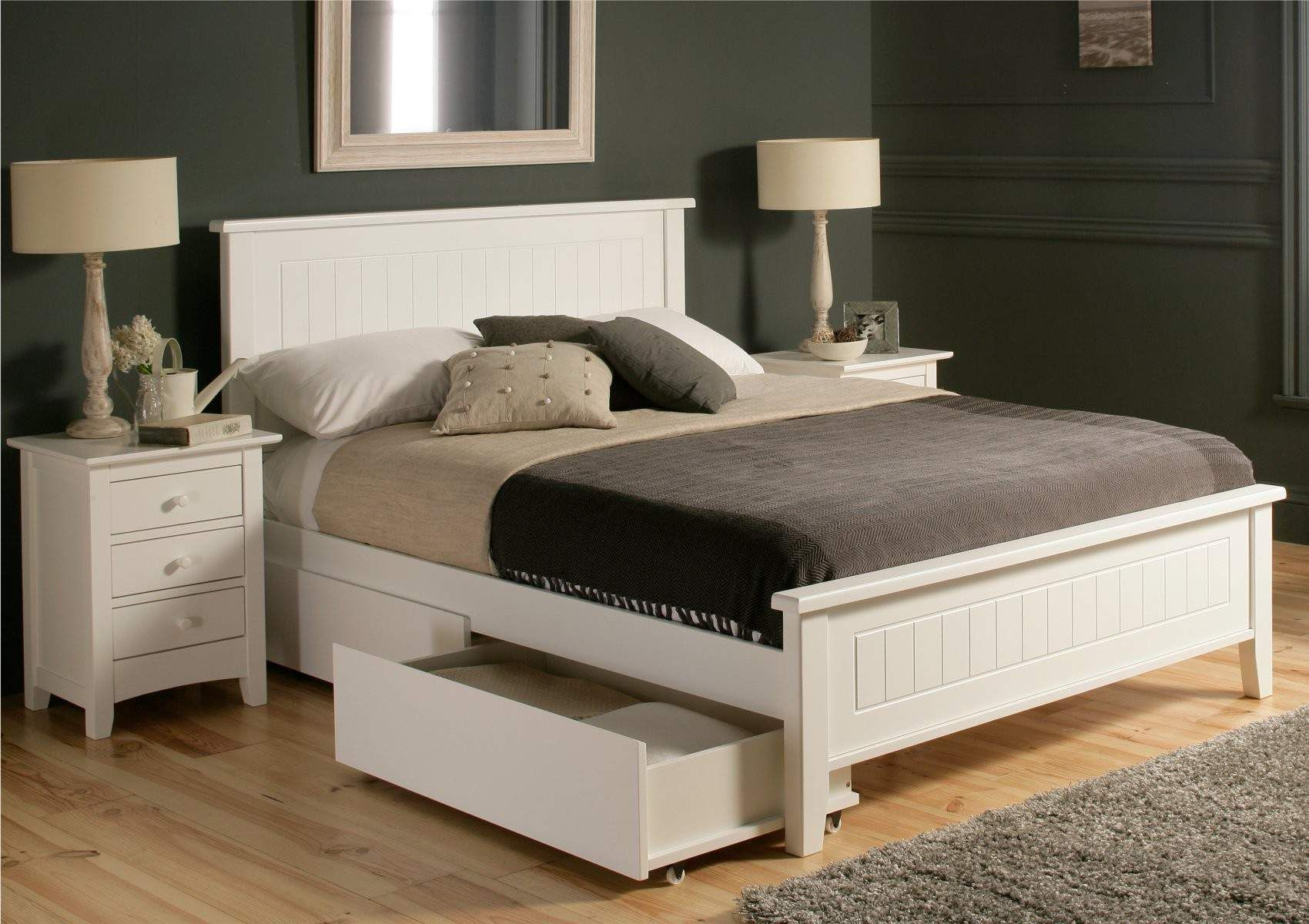 Wooden King Size Bed Frame With Drawers In 2020 White Bed Frame White Wooden Bed Bed With Drawers Underneath