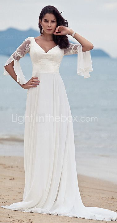 A-Line V Neck Court Train Chiffon / Floral Lace Made-To-Measure ...